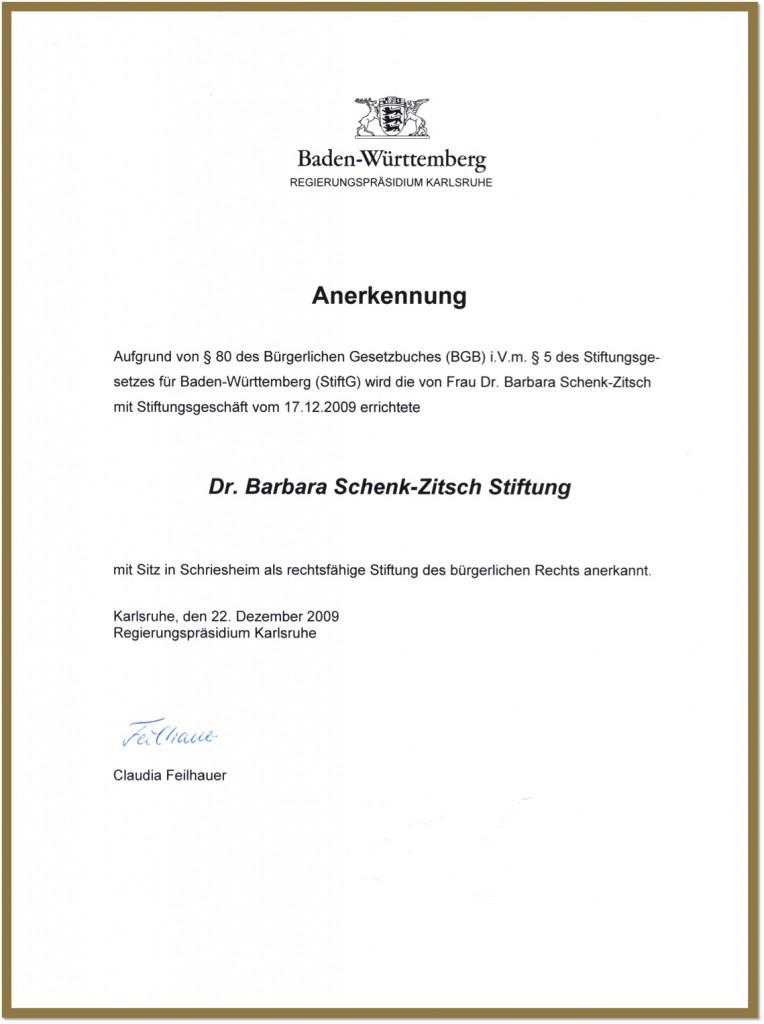 Anerkennung der Dr. Barbara Schenk-Zitsch Stiftung