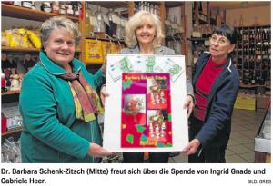 Dr. Barbara Schenk-Zitsch (Mitte) freut sich über die Spende von Ingrid Gnade und Gabriele Heer.