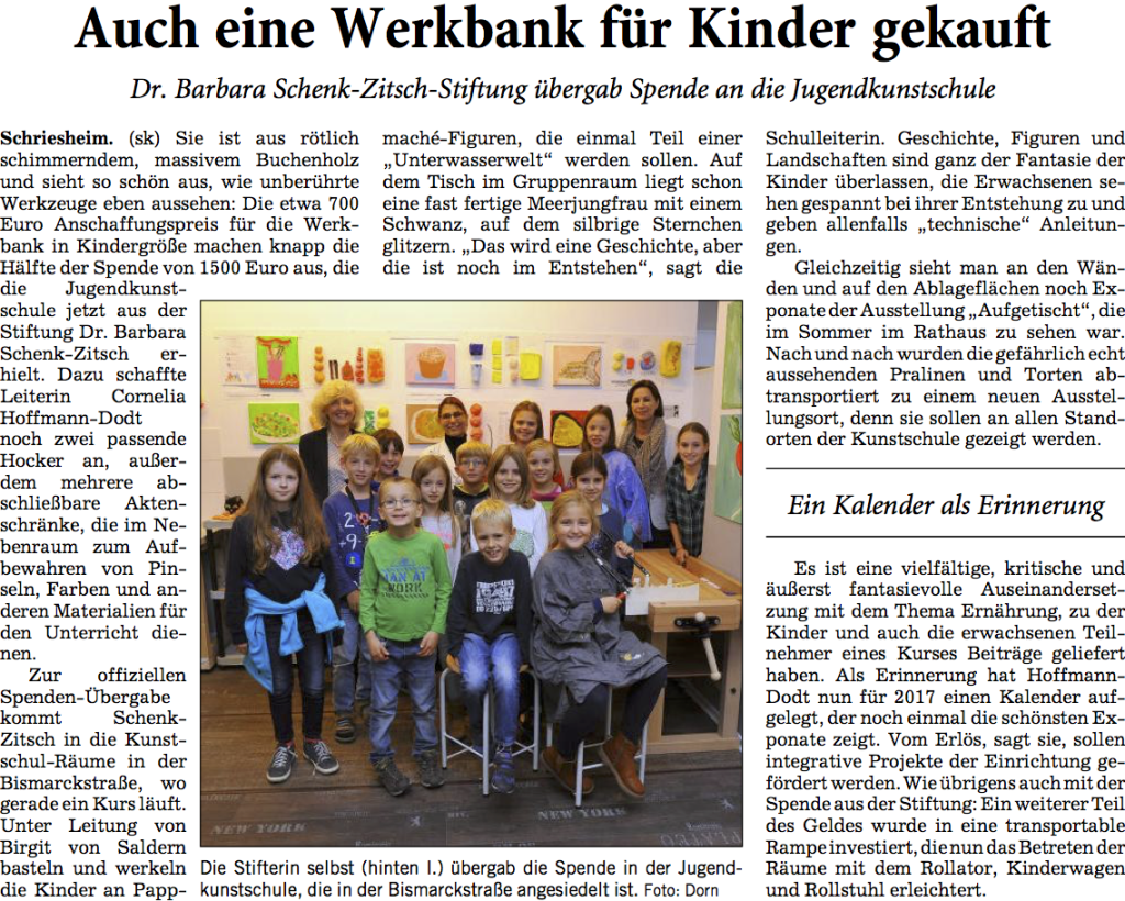 Berichterstattung aus der Rhein-Neckar-Zeitung vom 13.10.2016